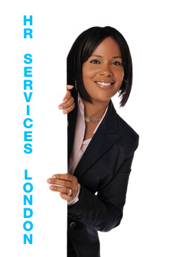 Business woman with HR sign